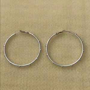 """Silver Tone 2"""" Hoop Earrings"""